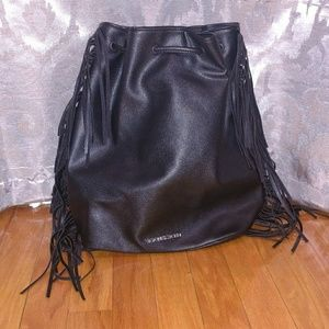 NWOT Victoria's Secret black fringe backpack